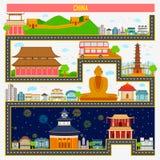 Paisaje urbano con el monumento y el edificio famosos de China ilustración del vector