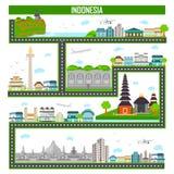 Paisaje urbano con el monumento y el edificio famosos de Indonesia stock de ilustración