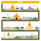 Paisaje urbano con el monumento y el edificio famosos de Nepal ilustración del vector