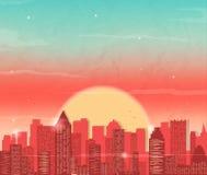 Paisaje urbano con el rascacielos Puesta del sol en ciudad Fondo del vector stock de ilustración