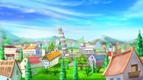 Paisaje urbano con la torre inclinada de Pisa stock de ilustración