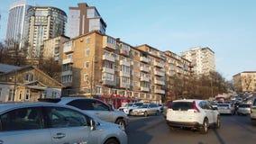 Paisaje urbano con la vista de la calle Sukhanov