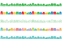 Paisaje urbano con las casas coloridas Foto de archivo libre de regalías