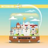Paisaje urbano con las señales suizas en maleta libre illustration