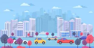 Paisaje urbano con los edificios modernos grandes, el transporte urbano, el tráfico en la calle, el parque con los árboles del co stock de ilustración