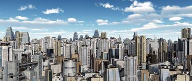 Paisaje urbano con los rascacielos futuristas stock de ilustración