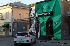 Paisaje urbano con nuevas fabricaciones de los diseñadores locales stock de ilustración