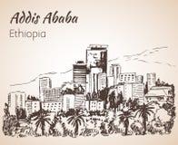 Paisaje urbano de Addis Ababa - Etiopía bosquejo Fotografía de archivo
