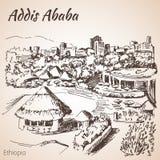 Paisaje urbano de Addis Ababa - Etiopía bosquejo Fotos de archivo