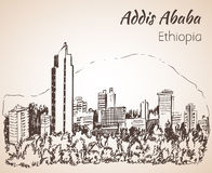 Paisaje urbano de Addis Ababa - Etiopía bosquejo Imágenes de archivo libres de regalías