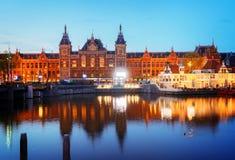 Paisaje urbano de Amsterdam en la noche Fotografía de archivo
