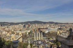 Paisaje urbano de Barcelona del castillo de Monjuic Fotografía de archivo libre de regalías