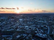 Paisaje urbano de Boston por la tarde en invierno fotos de archivo libres de regalías