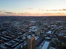 Paisaje urbano de Boston por la tarde en invierno foto de archivo libre de regalías