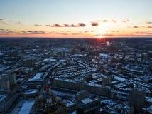 Paisaje urbano de Boston por la tarde en invierno fotos de archivo