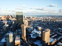 Paisaje urbano de Boston por la tarde en invierno imagenes de archivo