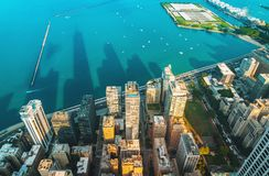 Paisaje urbano de Chicago con vistas al lago Michigan fotos de archivo libres de regalías