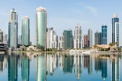Paisaje urbano de Dubai, UAE foto de archivo