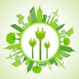 Paisaje urbano de Eco con el enchufe eléctrico ilustración del vector