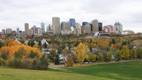 Paisaje urbano de Edmonton, Canadá con el álamo temblón colorido en primero plano fotos de archivo