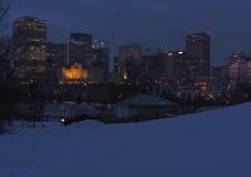 Paisaje urbano de Edmonton en invierno Imágenes de archivo libres de regalías