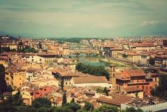 Paisaje urbano de Florencia, Italia. Vista de la ciudad en el top Imagen de archivo libre de regalías