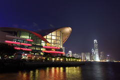 Paisaje urbano de Hong-Kong en la noche Imagen de archivo