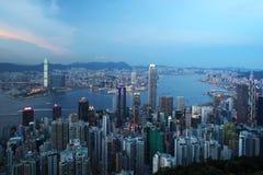 Paisaje urbano de Hong-Kong en la puesta del sol Fotografía de archivo