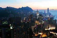 Paisaje urbano de Hong Kong en la puesta del sol Fotografía de archivo