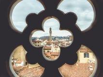 Paisaje urbano de Italia Florencia con Palazzo Vecchio Fotos de archivo