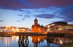 Paisaje urbano de la bahía de Cardiff Fotografía de archivo libre de regalías