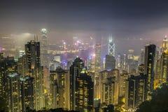 Paisaje urbano de la central, Hong Kong Foto de archivo