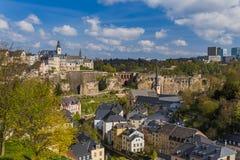 Paisaje urbano de la ciudad de Luxemburgo Imágenes de archivo libres de regalías