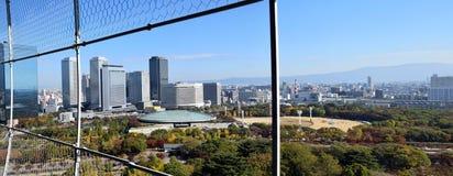 Paisaje urbano de la ciudad de Osaka visto de Osaka Castle Fotografía de archivo libre de regalías