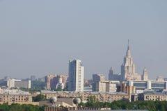 Paisaje urbano de la mañana - una vista de la ciudad de Moscú Imagen de archivo