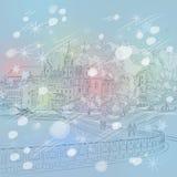 Paisaje urbano de la Navidad del invierno del vector con la iglesia y  stock de ilustración