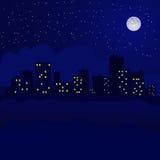 Paisaje urbano de la noche con las estrellas en el cielo Imágenes de archivo libres de regalías