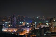 Paisaje urbano de la noche con los puntos ligeros Fotografía de archivo libre de regalías