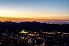 Paisaje urbano de la noche de Barcelona Fotografía de archivo