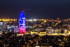Paisaje urbano de la noche de Barcelona Foto de archivo