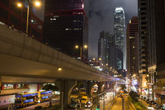Paisaje urbano de la noche de Hong-Kong Fotografía de archivo libre de regalías
