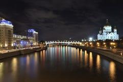 Paisaje urbano de la noche de Moscú Imagenes de archivo
