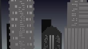 Paisaje urbano de la noche en tonos grises con el rascacielos metrajes