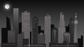 Paisaje urbano de la noche Rascacielos en colores grises foto de archivo libre de regalías
