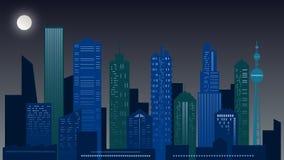 Paisaje urbano de la noche Rascacielos en colores verdes y azules imagen de archivo libre de regalías