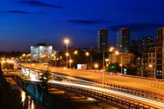 Paisaje urbano de la noche. Rostov-on-Don. Rusia Foto de archivo libre de regalías