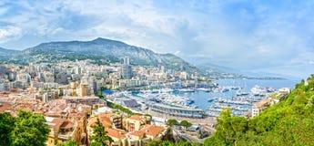 Paisaje urbano de la opinión aérea del principado de Mónaco Monte Carlo. Costa azul. Francia imágenes de archivo libres de regalías