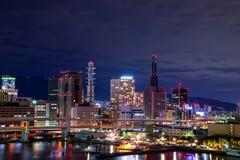 Paisaje urbano de la opinión de la noche de la ciudad de Kobe y del x28 céntricos; Distr de Sannomiya Foto de archivo