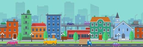 Paisaje urbano de la pantalla ancha en estilo plano Foto de archivo libre de regalías