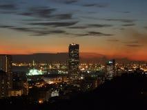 Paisaje urbano de la puesta del sol Imagen de archivo